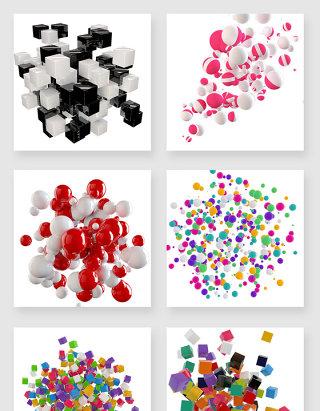 漂浮素材气球彩块设计素材