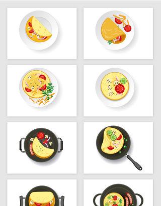 卡通西式早餐食物矢量图形