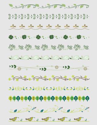 卡通植物分割线设计素材