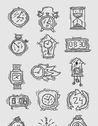 卡通黑白手绘线描钟表矢量素材