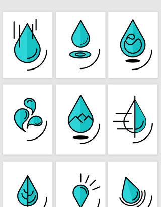 创意简笔画水滴图标矢量图形