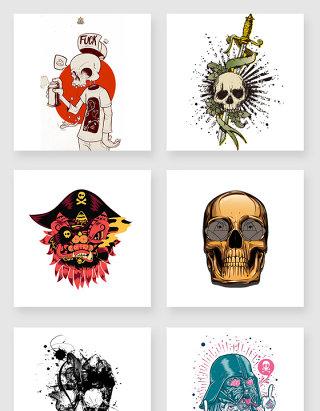 骷髅头彩色涂鸦设计元素