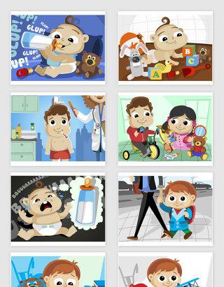 矢量卡通婴儿儿童插画