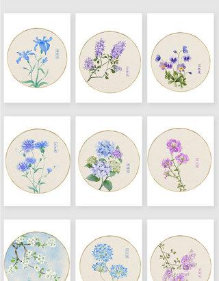 彩绘蓝紫色装饰花卉素材