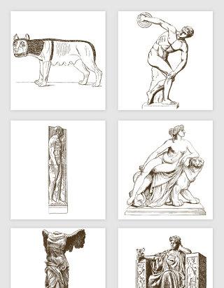 欧洲著名雕像雕塑手绘插画矢量图形