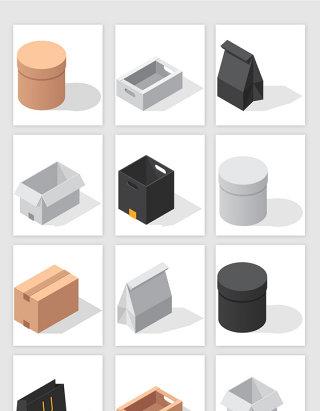 俯视3D盒子矢量素材