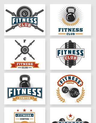 健身中心装饰标签图标矢量素材