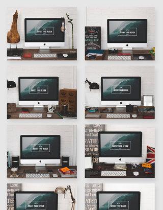 办公一体机电脑场景智能贴图样机素材