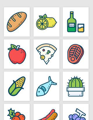 手绘彩色线条食物植物饮料图标矢量图形
