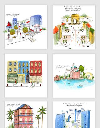 水彩彩绘景观城市素材
