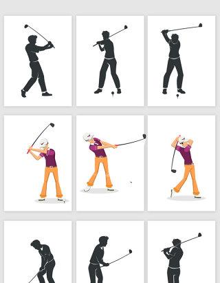 挥杆打高尔夫球的人矢量素材