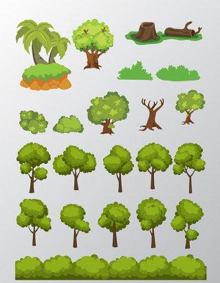 卡通树木矢量素材