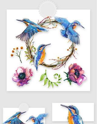 水彩手绘飞鸟花卉设计元素素材