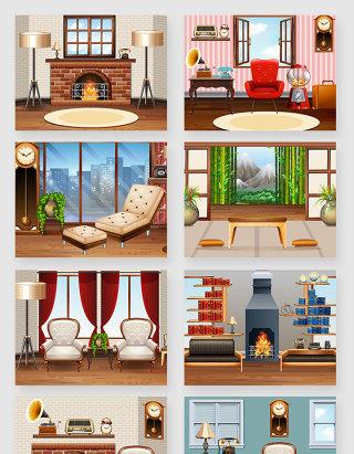 欧式室内装修家居客厅场景矢量素材
