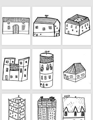 手绘线描建筑矢量素材