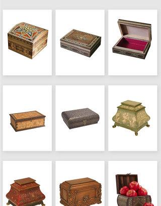 高清免抠古典复古木制收纳盒