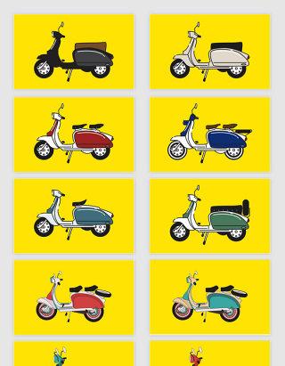 矢量手绘线描摩托车助动车