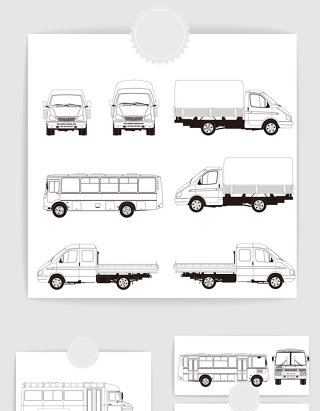 矢量手绘线描汽车公交车