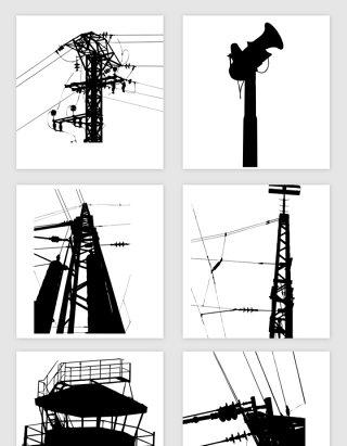 输电架设线路剪影矢量素材