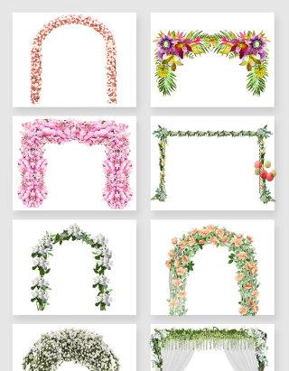 婚礼鲜花拱门矢量素材