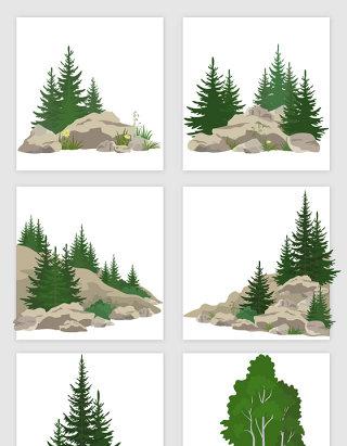 山林树木石头组合矢量元素