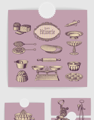 手绘欧式复古厨房烹饪用具矢量素材