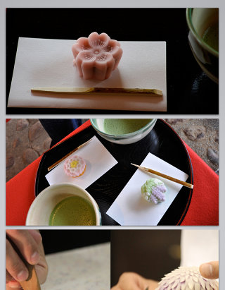 日本旅游日本著名手工茶点的背景图