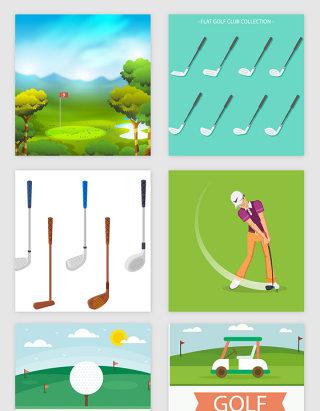 高尔夫体育运动主题矢量素材