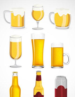 啤酒杯子素材矢量图标图形