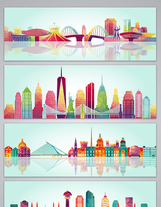 彩色城市地产背景