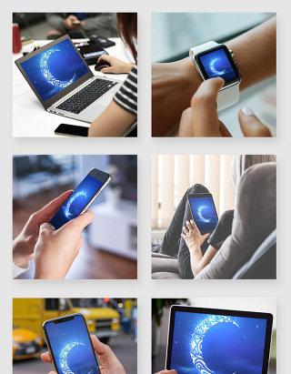 场景多角度办公苹果电子设备应用模型样机