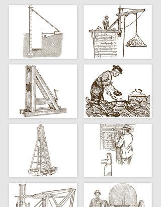 手绘建筑工地砌墙矢量素材