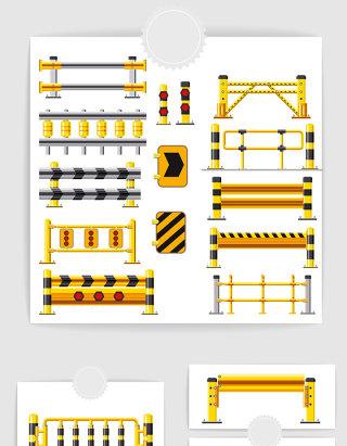 矢量城市交通安全护栏
