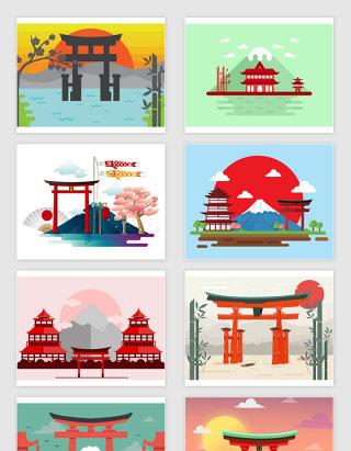 矢量卡通日本神社风景插画