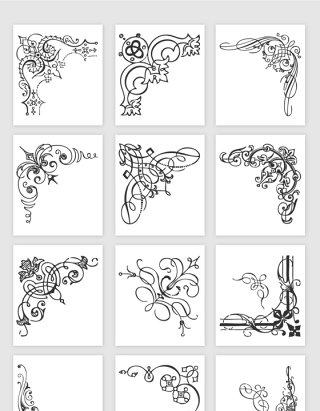 手绘欧式花边矢量素材