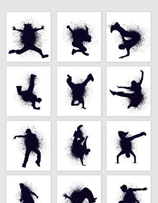 泼墨手绘武术人物黑色矢量设计素材