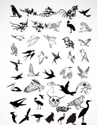 飞鸟集动物剪影矢量素材