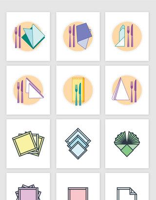 餐具餐巾纸餐布彩色插画矢量图形
