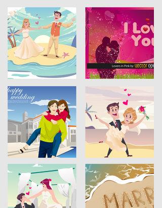 情人节爱情卡通人物矢量素材