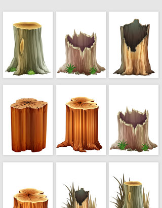 手绘风格木桩矢量元素