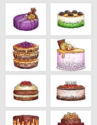 手绘水彩蛋糕食物矢量素材