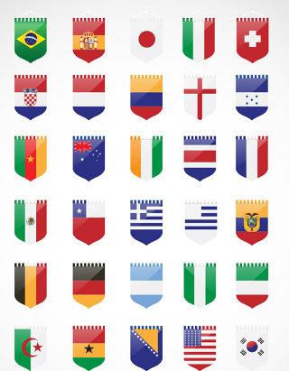 32国国旗矢量图形元素