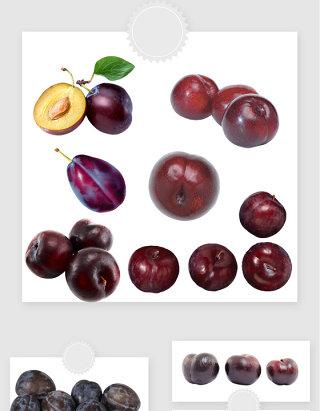 高清免抠真是李子黑布林水果素材