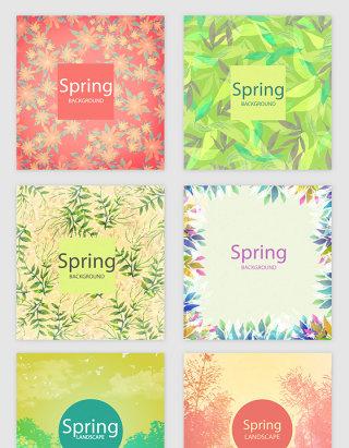 春天花卉印花植物矢量素材