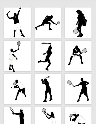 创意网球人物剪影素材
