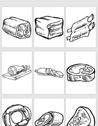 手绘切开的肉类食物矢量素材