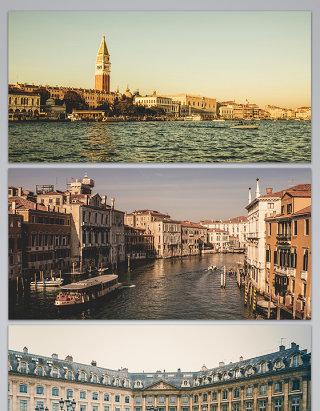 欧洲城市河流背景图
