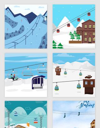 滑雪场的主题矢量素材