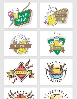 手绘啤酒节的元素矢量素材