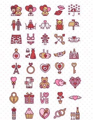 矢量情人节图标素材